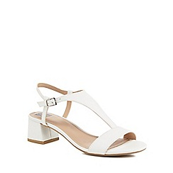 The Collection - White 'Cradle' mid block heel t-bar sandals