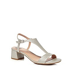 The Collection - Silver glitter 'Cradle' mid block heel t-bar sandals