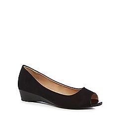 The Collection - Black suedette 'Crayon' peep toe sandals