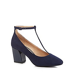 The Collection - Navy suedette 'Carin' high block heel wide fit T-bar shoes