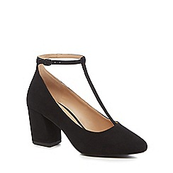The Collection - Black suedette 'Carin' high block heel wide fit T-bar shoes