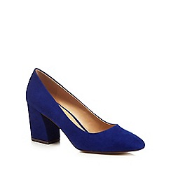 The Collection - Blue suedette 'Cooper' high block heel court shoes