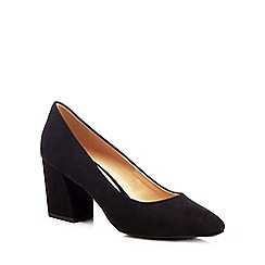 The Collection - Black suedette 'Cooper' high block heel court shoes