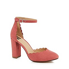 The Collection - Pale pink suedette 'Cora' high block heel court shoes