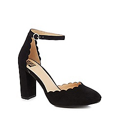The Collection - Black suedette 'Cora' high block heel court shoes