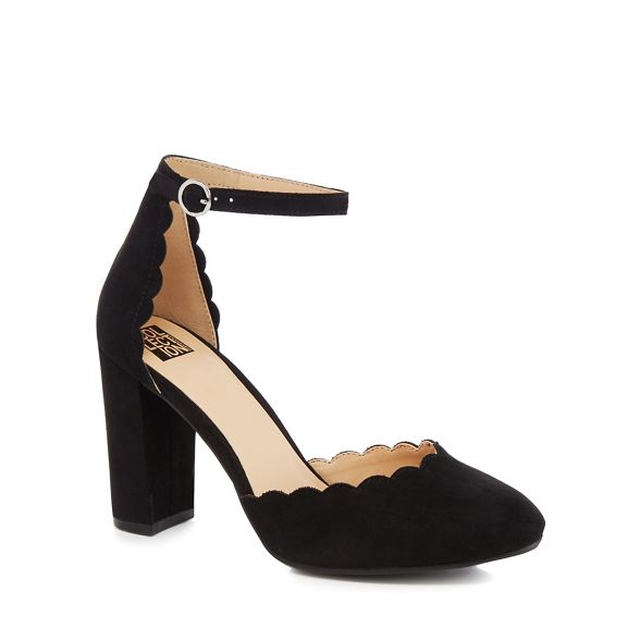 suedette high Collection The heel block 'Cora' Black court shoes If6qqE