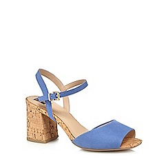 The Collection - Blue suedette 'Clock' mid block heel wide fit ankle strap sandals