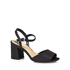 The Collection - Black 'Clock' mid block heel wide fit ankle strap sandals