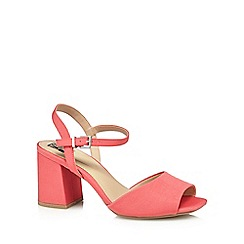 The Collection - Pink 'Clock' mid block heel wide fit ankle strap sandals