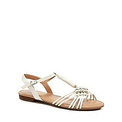 The Collection - White 'Chrissy' diamante detail ankle strap sandals