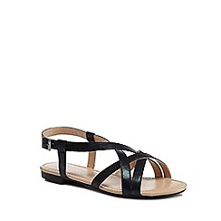 The Collection - Black 'Charlie' wide fit ankle strap sandals