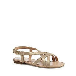 The Collection - Gold 'Charlie' wide fit ankle strap sandals