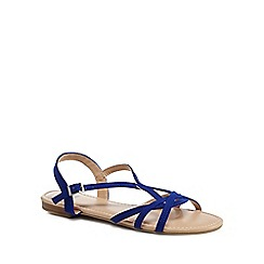 The Collection - Blue suedette 'Charming' ankle strap sandals