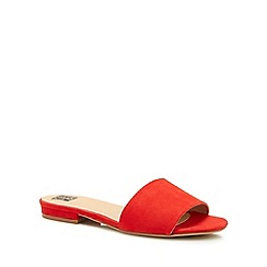 The Collection - Red 'Clide' mule sliders