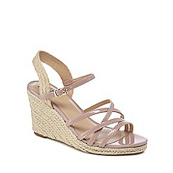 The Collection - Light pink 'Craven' wide fit high wedge heel espadrilles