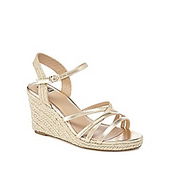 The Collection - Gold 'Craven' high wedge heel espadrilles