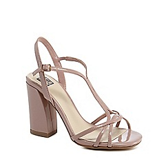 The Collection - Pink patent high block heel ankle strap sandals