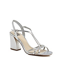The Collection - Silver high block heel ankle strap sandals