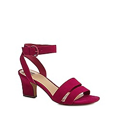 The Collection - Dark pink suedette 'Centro' mid block heel wide fit ankle strap sandals