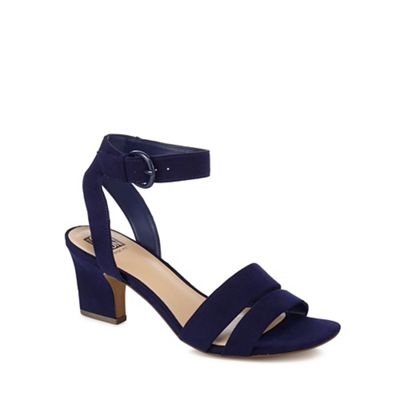 The Collection - Navy suedette 'Centro' mid block heel wide fit ankle strap sandals