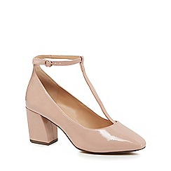 The Collection - Natural patent 'Carin' high block heel wide fit T-bar shoes