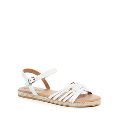 Mantaray   White 'molly' Espadrille Ankle Strap Sandals by Mantaray