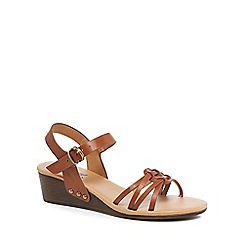Mantaray - Tan mid wedge heel ankle strap sandals
