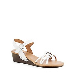 Mantaray - White mid wedge heel ankle strap sandals