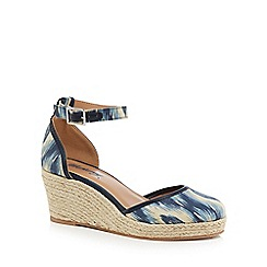 Mantaray - Blue 'Magic' mid wedge heel ankle strap sandals