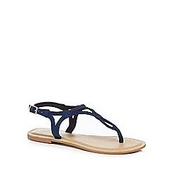 Mantaray - Navy suede 'Maid' T-bar sandals