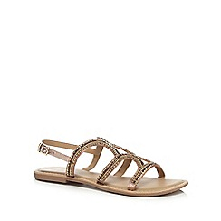 Mantaray - Gold 'Mead' ankle strap sandals