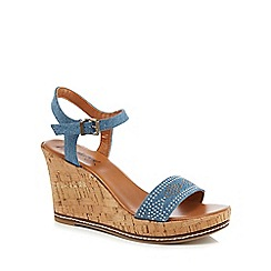 Mantaray - Blue denim 'Maisie' high wedge heel ankle strap sandals