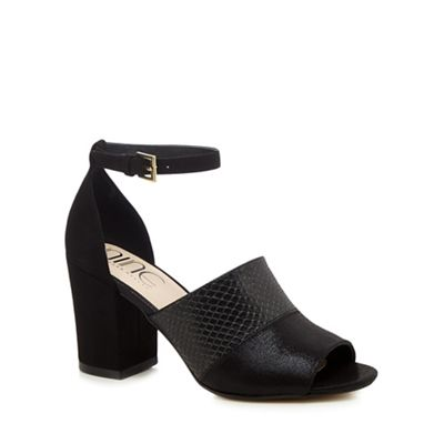 Nine by Savannah Miller Black suedette 'Steph' high ankle strap sandals |  Debenhams