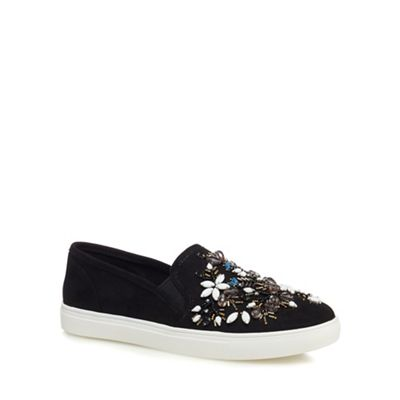 Nine by Savannah Miller - Black suedette slip-on trainers