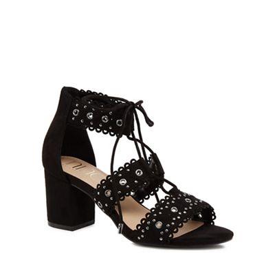 Nine by Savannah Miller - Black suedette 'Sadie' mid block heel ankle strap sandals
