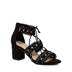 Nine by Savannah Miller - Black suedette 'Sadie' mid block heel ankle strap sandals