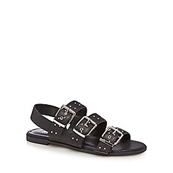 Nine by Savannah Miller - Black 'Stud' studded buckle sandals