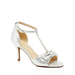 Debut - Silver diamante 'Dowe' mid stiletto heel T-bar sandals