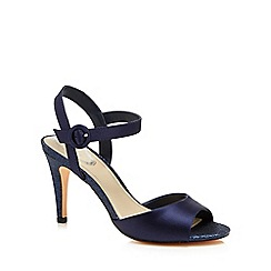 Debut - Navy satin 'Daenerys' high stiletto heel ankle strap sandals