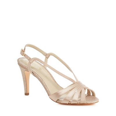 Debut - Pale pink glitter wide 'Dainty' high stiletto heel wide glitter fit ankle strap sandals 6708c5