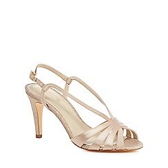 Debut - Pale pink glitter 'Dainty' high stiletto heel wide fit ankle strap sandals