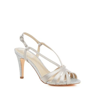 Debut   Silver Glitter 'dainty' High Stiletto Heel Wide Fit Ankle Strap Sandals by Debut