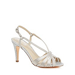 770ea4bb088b84 Debut - Silver glitter  Dainty  high stiletto heel wide fit ankle strap  sandals