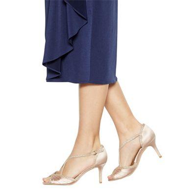 Wide FitDebut - Gold satin 'Dancer' high heel wide fit ankle strap sandals