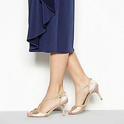 Debut - Gold satin 'Dancer' high heel wide fit ankle strap sandals