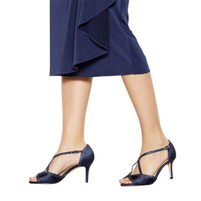 debut navy satin 'dancer' high heel wide fit ankle strap