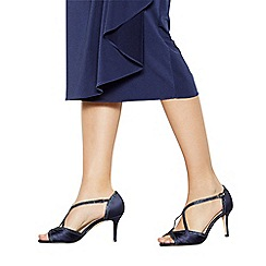 Debut - Navy satin 'Dancer' high heel wide fit ankle strap sandals