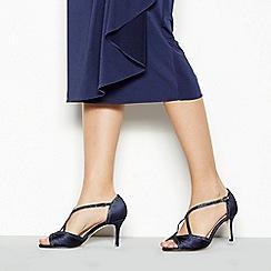 Debut - Navy satin 'Dancer' high heel wide fit ankle strap sandals