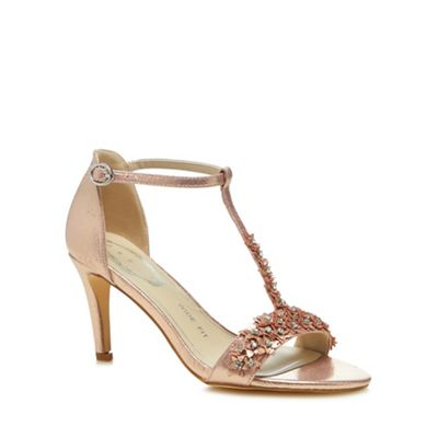 Debut   Rose Floral Embellishment 'danika' High Stiletto Heel Wide Fit T Bar Sandals by Debut