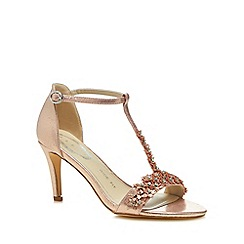 Debut - Rose floral embellishment 'Danika' high stiletto heel wide fit t-bar sandals
